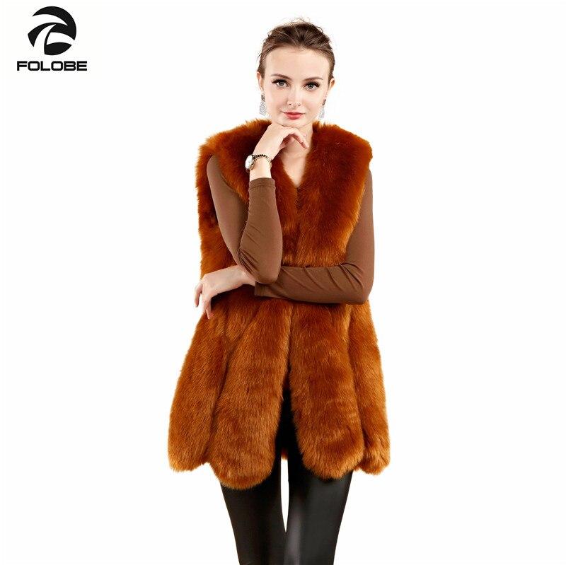 FOLOBE hiver chaud gilet nouveauté mode femmes importation manteau fourrure gilet haute qualité fausse fourrure manteau renard fourrure manteaux gilet jaune