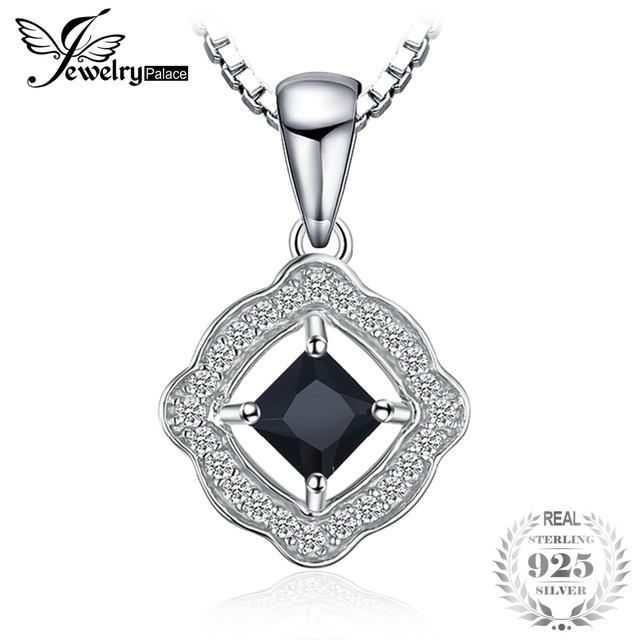 JewelryPalace Elegant Square Cut Genuine Spinel Pendant 925 Sterling Silver Acce