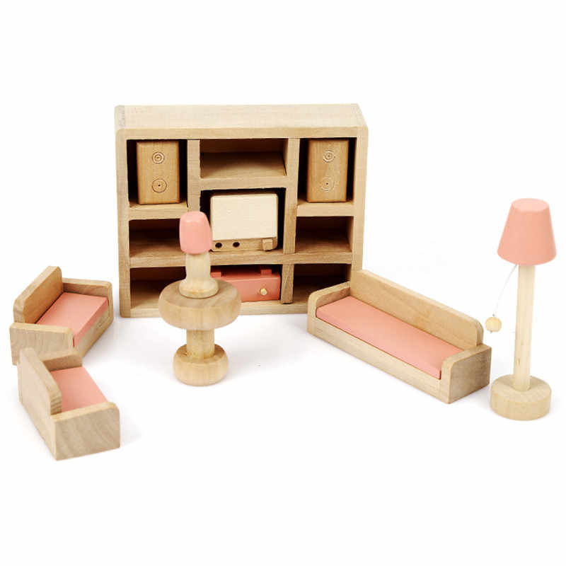Detail Feedback Questions About Wooden Dollhouse Furniture Set Toys