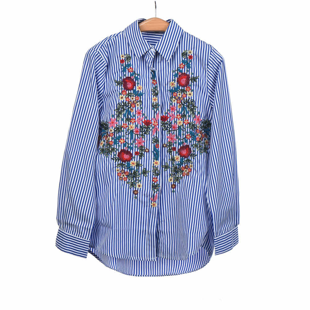 JAYCOSIN Blouse Women Stripe Long Sleeve Embroidery Floral Shirts Casual Spring Stand Collar Full Women Top 0311