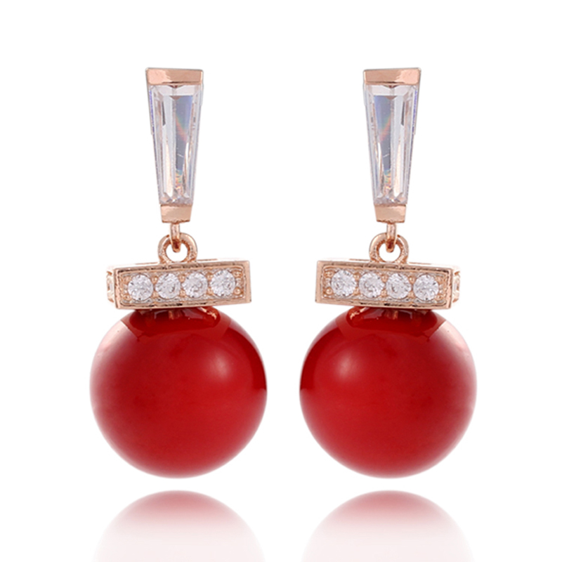 99007b44c Joyería de la boda encanto Pendientes de gota rosa de oro de color rojo  simulado perla joyería pendiente para las mujeres (e0518a)