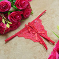 1PCS Women Sexy Lace Thong Panties Interior Open Fork Brief G-string Underwear Lady Bow Female T-back Panties Female Sexy 3Color