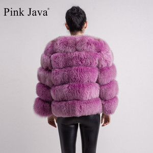 Image 4 - pink java QC8081 2017 new model women real fox fur coat long sleeves winter fashion fur  outfit high quality