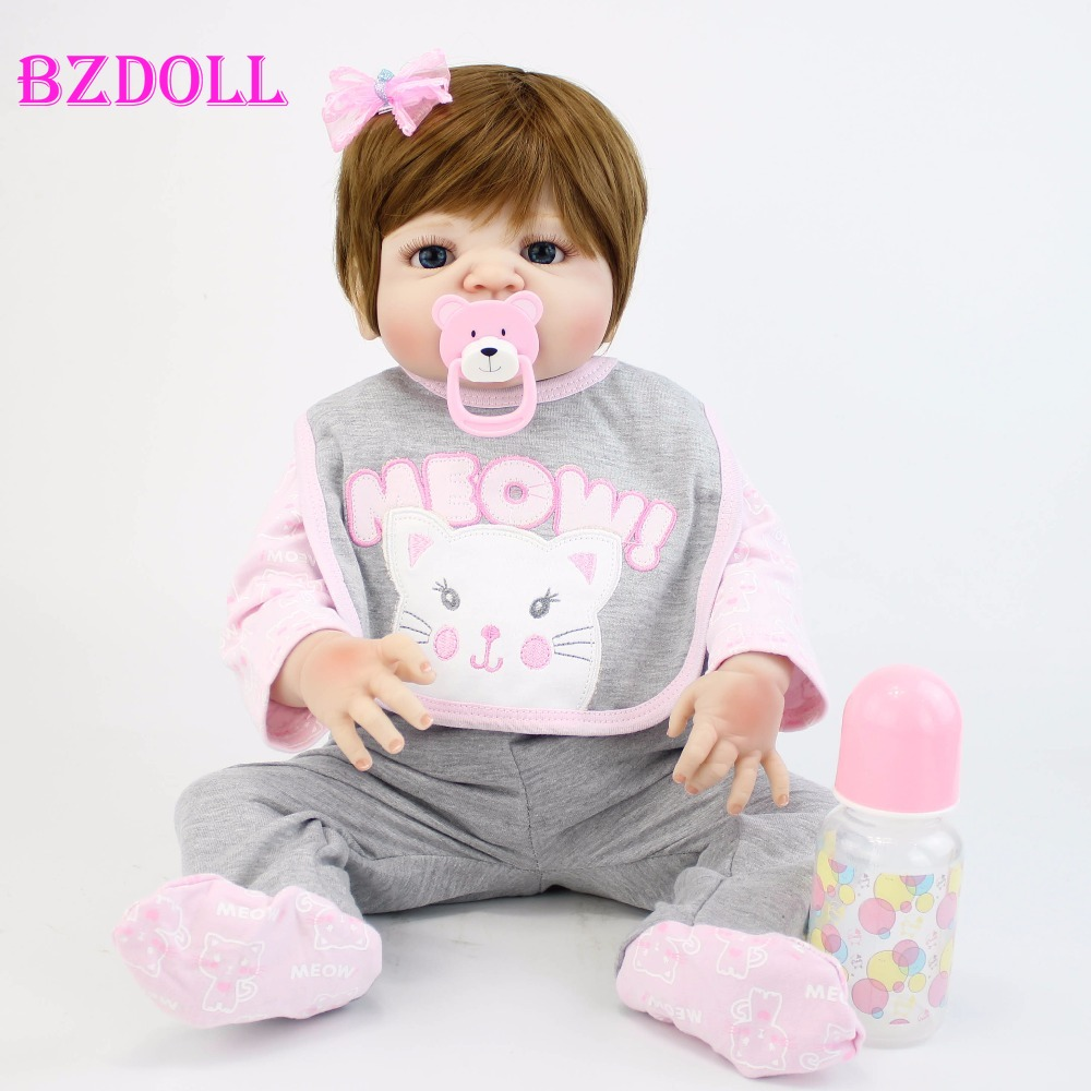 55cm Full Silicone Vinyl Body Reborn Baby Doll Toy For Girl Newborn Alive Bebe Boneca Bathe