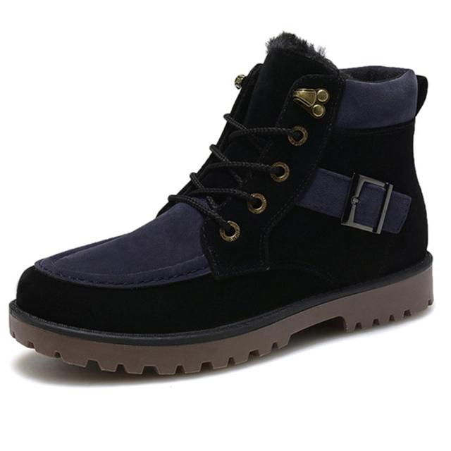 Hombres de invierno Botas de Nieve Caliente con cordones de Piel de Algodón Cachemir antideslizantes Hombres Martin Botas Planos Ocasionales Cómodos zapatos 47 ZYH