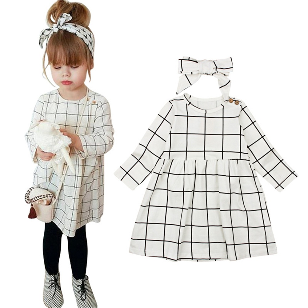 Toddler Kids Baby Girl Plaid Cotton Long Sleeve Dress Outfits Clothes