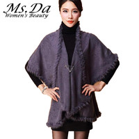 2018 Womens Capes and Ponchoes Winter Batwing Sleeve Coats Women Cardigans Shawl Cloak Plus Size Sweaters Red,Black,Gray,Purple