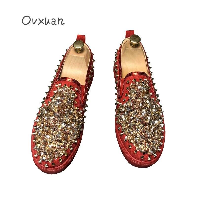 Nuit Mode Robe Pour Glitter Appartements Banquet De Noir Casual rouge Mocassins Rouge Paillettes Hommes Blanc Chaussures 2019 Mariage Rivet Bal Club vCqdwqx4