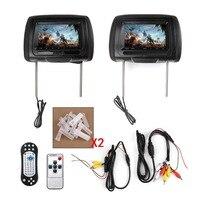 TAIHONGYU 2x7 HD Кожаный Автомобильный подголовник монитор DVD видео плеер TFT ЖК экран USB/SD/FM/игра/динамик ИК Беспроводная гарнитура