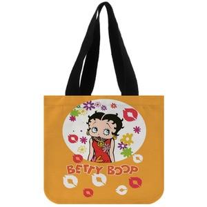Image 5 - Tote Tasche Baumwolle Leinwand Benutzerdefinierte Betty Boop Einkaufen Faltbare Mehrweg Schulter Kunden Mit Eigenen Logo Großhandel