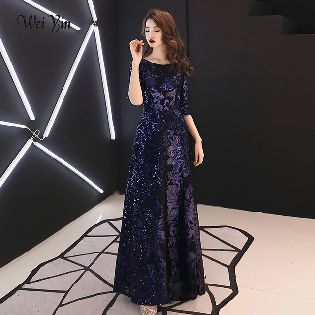 ac066d2464602 US $66.0 40% OFF|weiyin Evening Dresses 2019 Elegant Sequined Evening Gowns  Long Formal Evening Dress Styles Women Prom Party Dresses WY1356-in ...