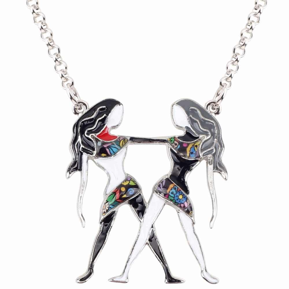Bonsny Maxi déclaration en alliage de métal chanceux zodiaque Gemini collier pendentif mode chaîne Choker 2018 nouveau bijoux en émail pour les femmes