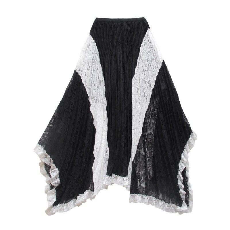 Para Plisado En Larga Falda Faldas Blanco 2019 Encaje Moda De Contraste Asimétrico Verano Maxi Irregular Mujer Negro Costura Y 4qSwTZxn1