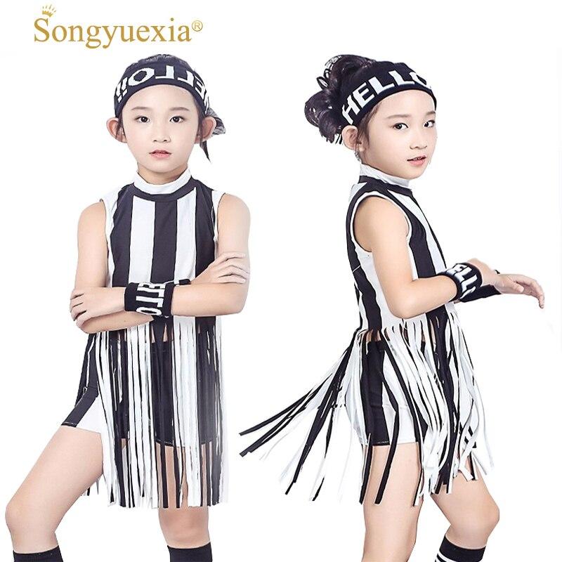 Children Hip Hop Clothing Girl Hip-hop Short Sleeve T Pity Shorts Tassel  Stripe Hiphop Stage Dancewear