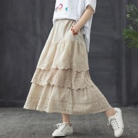 Lolita Japanese water soluble lace embroidery A Line skirt women 2019