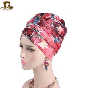 Image 2 - ผู้หญิงใหม่ดอกไม้หรูหรา Velvet Turban ไนจีเรีย turban Hijab หลอดยาวพิเศษ HEAD Wrap ผ้าพันคอมุสลิม turbante อุปกรณ์เสริมผม