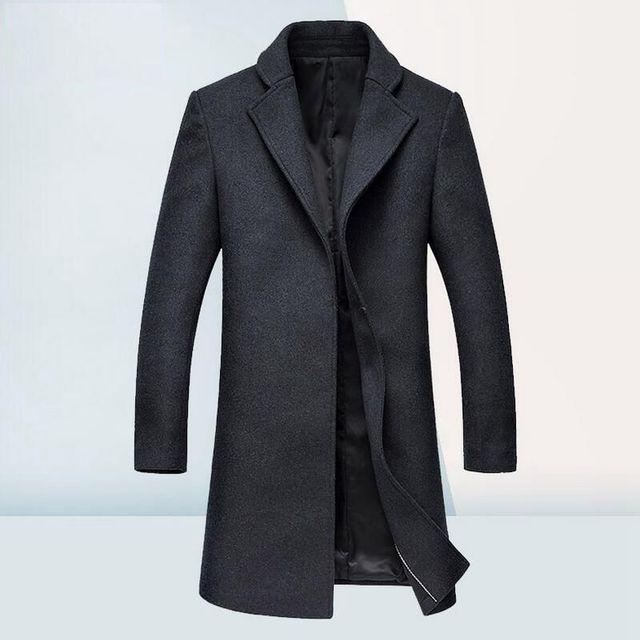 Men's Wool Jacket Coat Autumn Winter Woolen Long Coat Men Cashmere Pea Coat Winter Men Fashion Buckles Overcoat