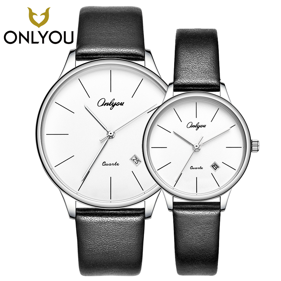 ONLYOU Simple Style Lover Watches Genuine Leather Strap Couple Fashion Women Quartz Watch Men Business Waterproof Clock Couple hot fashion brand couple lover wrist watches red pointer simple style quartz watch men and women school clock with leather belt