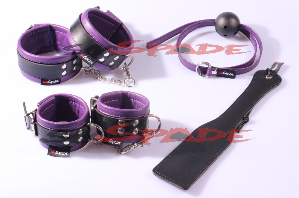 Restraint kit 4pcs/set: hand cuffs, ankle cuffs, gag, paddle, Adult toys Sex Products for couple sex toys bedroom restraint kit genuine leather restraint kit hand