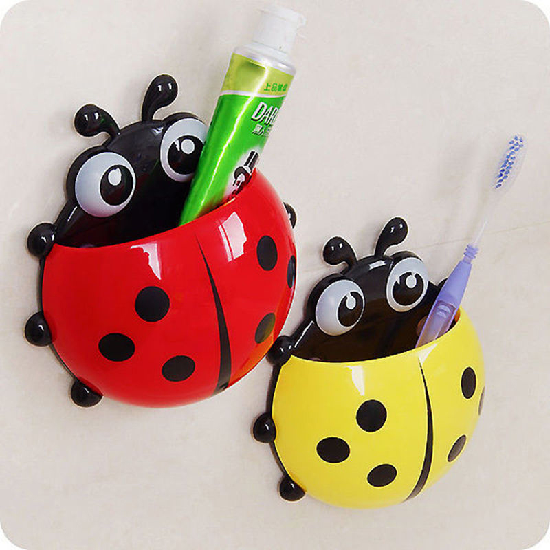 Cute Ladybug Bathroom Toothbrush Wall Mount Holder Sucker Suction Cups Organizer