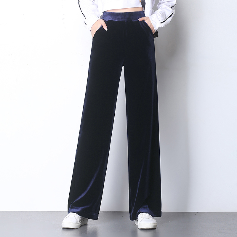 Autumn Winter Pleuche   Wide     Leg     Pants   Women Elastic Waist High Waist Velvet   Pants   Pockets Black,Navy Blue Trousers Solid Color