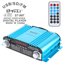 лучшая цена Stereo Amplifier 4CH Car Audio Power Amplifier FM Radio Player SD USB DVD MP3 + Remote Controller for Car Motorcycle Home Audio