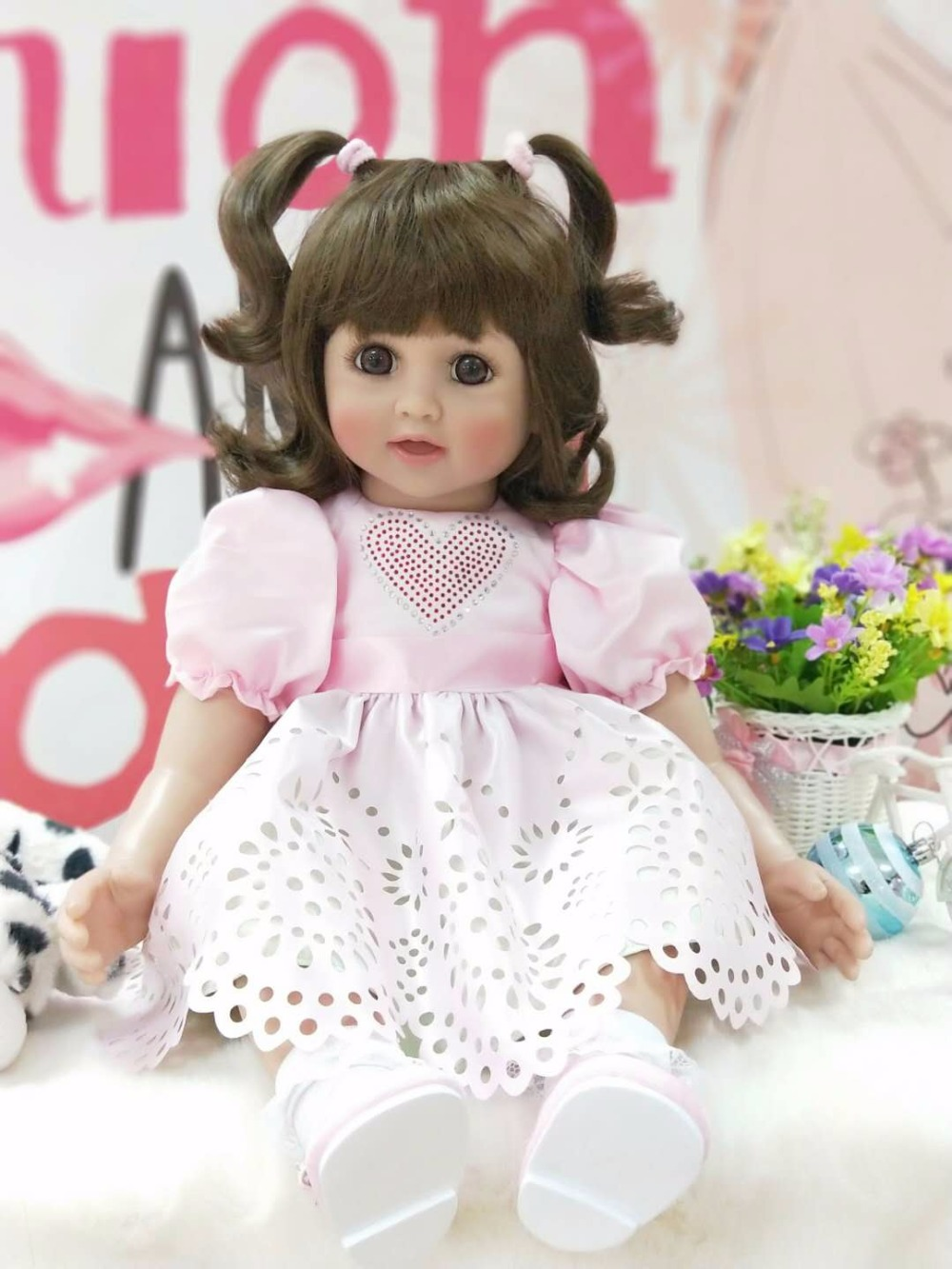 60cm Silicone Reborn Baby Girl Doll Toys 24inch Vinyl Smile Princess Toddler Babies Dolls Birthday Gift Present Play House Toy handmade chinese ancient doll tang beauty princess pingyang 1 6 bjd dolls 12 jointed doll toy for girl christmas gift brinquedo