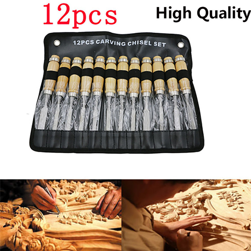2018 New 12PCS Wood Carving Hand Chisel Set Woodworking Professional Lathe Gouges Tools 65 Manganese Steel Dropshipping 0305 3pcs set stainless steel carving chisel wax carving tools set