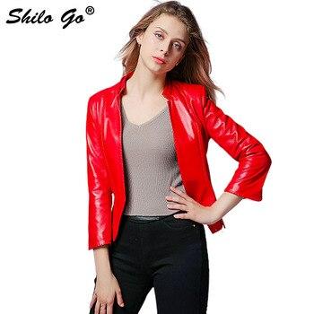 SHILO GO Leather Jacket Autumn Fashion sheepskin genuine leather Jacket concise office OL vents cuff red black sexy leather coat photo shoot