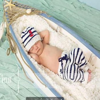 2019 New The Navy Design Baby hat Photography Props Handmade cotton Infant Toddler Costume Outfit Baby hat 2 colors football baby hat and shorts suit hot sale baby handmade cotton costume newborns photography props infant outfits