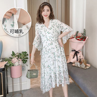 Summer Pregnant Women Nursing V Neck Dresses Maternity Chiffon Floral Dress Pregnancy Expectant Mother Breastfeeding Clothes