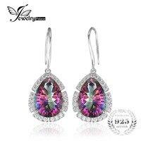 12ct Luxury Natural Rainbow Mystic Topaz Earrings Dangle Wedding Pear Genuine 925 Sterling Silver Jewelry 2016