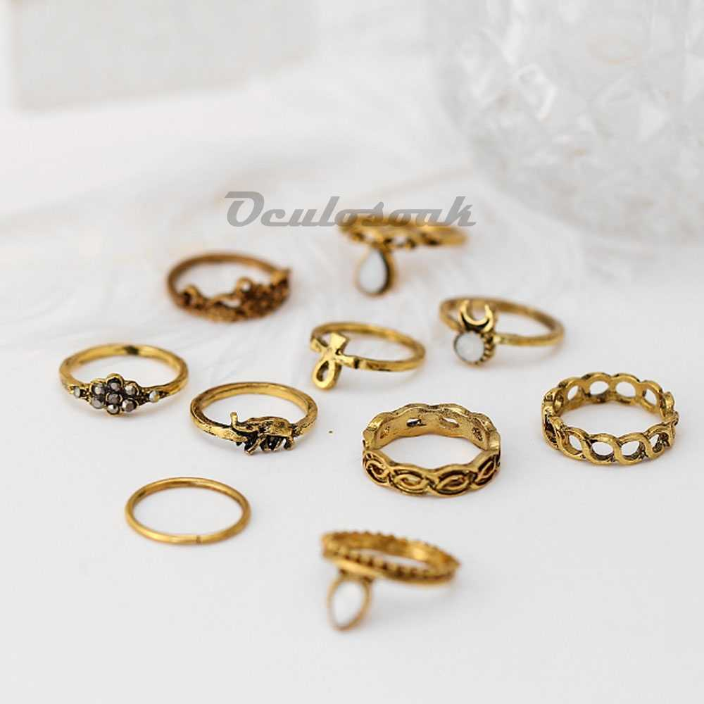 10 Pcs/Set Charm Rings Sets Water Drop Gem Carved Flowers Midi Knuckle Finger Crescent Metal Chain Braided Joint Rings For Women