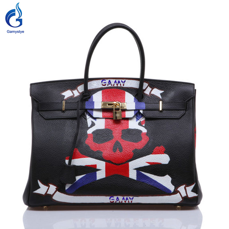 GAMYSTYE Graffiti leather handbags Women's luxury Bags Hand Painted hello skull rock punk totes Europe and America stripes skull недорго, оригинальная цена