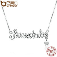 BAMOER Authentic 925 Sterling Silver Sunshine Letter Female Necklaces Pendants For Women Luxury Sterling Silver Jewelry