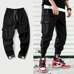 Новинка 2019, модные мужские брюки карго в уличном стиле, хлопковые брюки для бега, мужские повседневные тонкие спортивные штаны