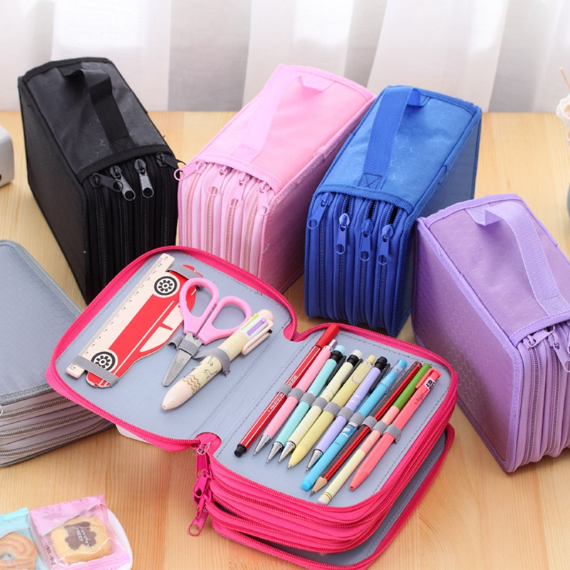 72 Slots 4 Layers Portable Oxford Canvas Pencils Case Pouch Brush Pockets Bag Pencil Holder Case School Supplies kicute sketch floral flower canvas roll up pencil case 36 48 72 hole large capacity pen brush holder storage pouch school supply