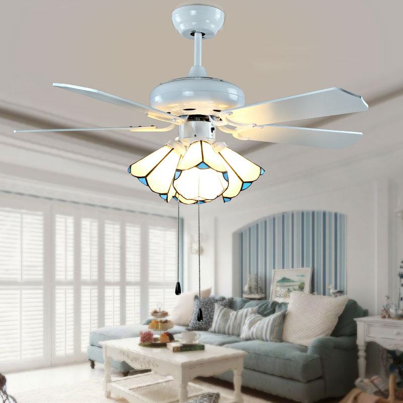 Living Room Ceiling Fan Lamp Lighting Electric Chandelier Mediterranean Restaurant Tiffany Bedroom