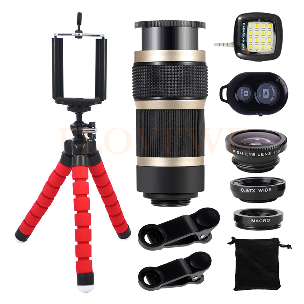 Cell Phone Lens Kit 8X Zoom Telephoto Lentes Wide Angle