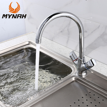 MYNAH Dual Handle Kitchen Faucet Polished Deck Mounted Single Hole Cold and Hot Water Tap