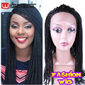Fashion Synthetic Hand Braided Wig Crochet Braids Front Lace Wigs 22 Inch Senegal Twist Braids Lace Wigs Havana Mambo Twist Hair