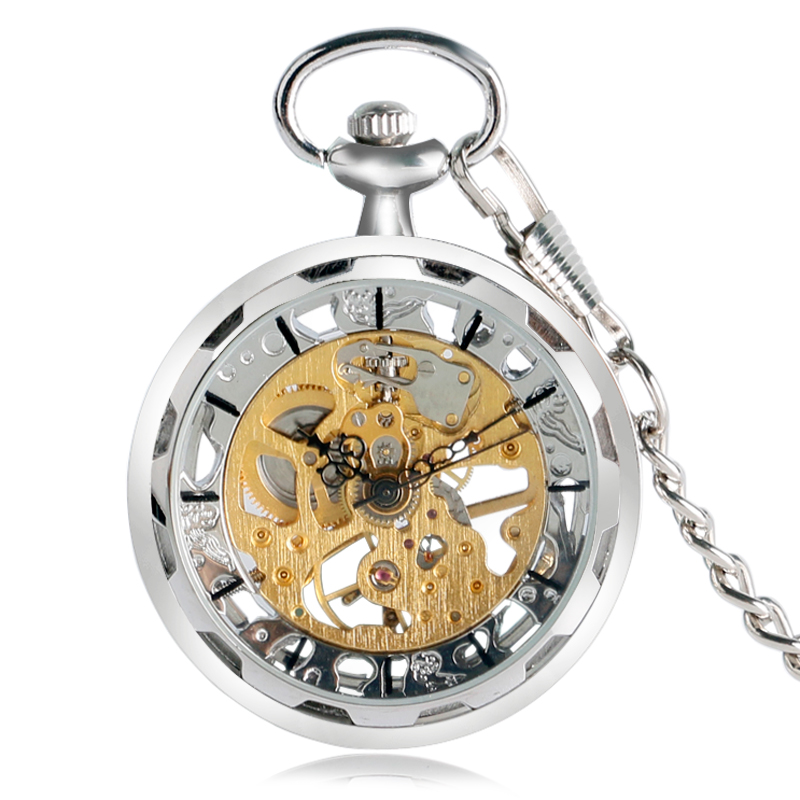 2017 Розкіш Творчі прозорі відкритим обличчям срібло скелет механічні кишенькові годинники рука обмотки Fob годинник подарунок кулон