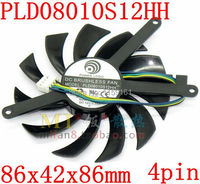 Free Shipping Gigabyte MSI 8010 Isosceles Graphics Card Fan POWER LOGIC PLD08010S12HH 86X42X86mm 0 35A