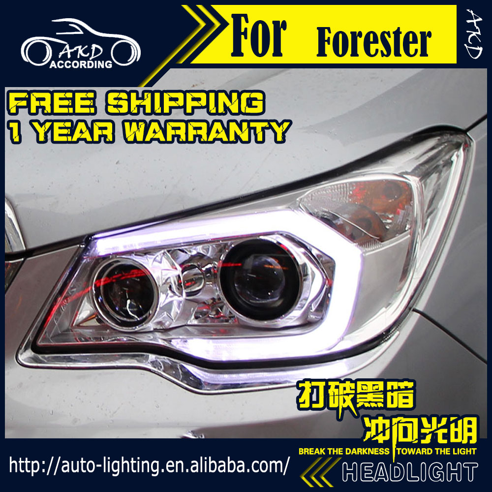 AKD Car Styling Head Lamp for Subaru Forester Headlights 2013-2016 LED Headlight DRL H7 D2H Hid Option Angel Eye Bi Xenon Beam car styling head lamp case for subaru forester headlights 2013 2016 led headlight drl h7 d2h hid option angel eye bi xenon