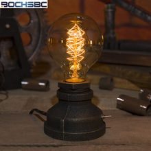 BOCHSBC E27 Edison Bulb Table Lights with American Country Retro Vintage Desk Lamp Creative Industrial Metal Base Tischleuchte