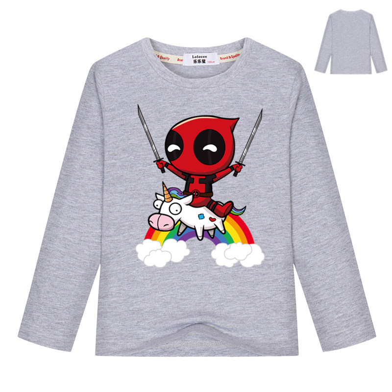 Funny Cute Riding a Rainbow Unicorn Girls T shirt For Kids Boys long sleeves Tee Tops Printed Tee Cosplay costume 100% Cotton