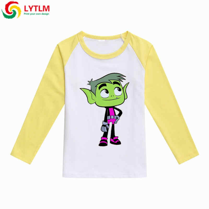 70afc199e116 ... LYTLM White T-shirt for Boys Teen Titans Go Movies Tiny Cottons Kids  Shirt Long ...