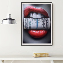 Modern Red Lips with Money Quote Poster Print Wall Art Oil Painting on Canvas Picture Living Room Bar Idea Creative Home Decor(China)