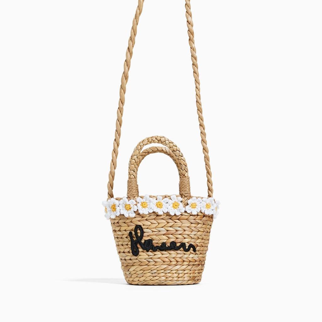 New Daisy Flowers Desiger Beach Bag Straw Handmade Woven Shoulder Bag Summer Bucket Totes 2018 Fashion Female Cute Handbags