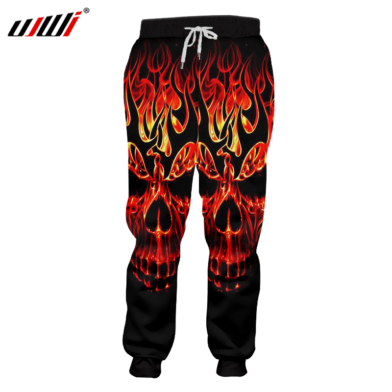 UJWI 3D Red Fire Skull Joggers Pants Men Full Length Spring Autumn Trousers Sweatpants 2018 New Fashion Waterproof Pants Homme